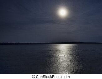 Watery moon rise