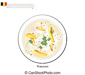 Waterzooi or Belgian Creamy Soup with Chicken