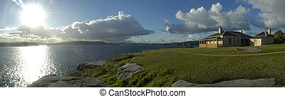 watson bay panorama in sydney, manly in distance,