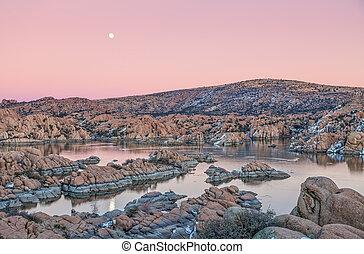 Watson Lake Moonrise - the full moon rising over watson lake...