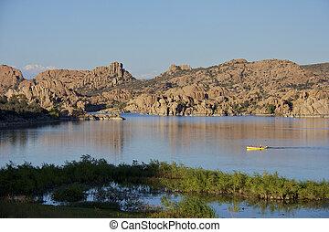 Watson lake, Prescott, Arizona - kayakers in a tranquil ...