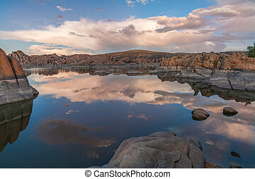 Watson Lake Sunset Reflection - a sunset reflection at...