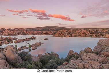 Watson lake Sunset - a colorful sunset over watson lake...