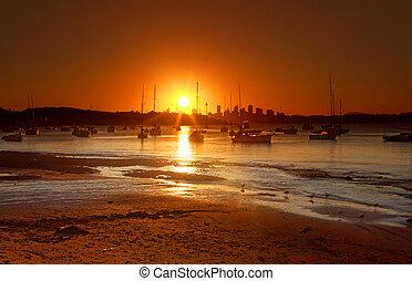 watsons, 日没, 上に, オーストラリア, 湾