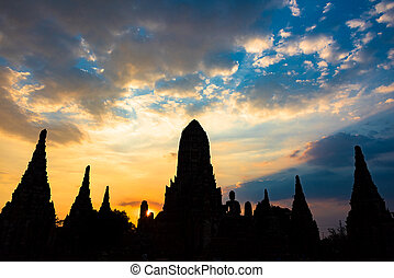 wattanaram, silhouette, chai, coucher soleil, wat, temple