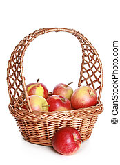 Wattled basket with delicious red apples
