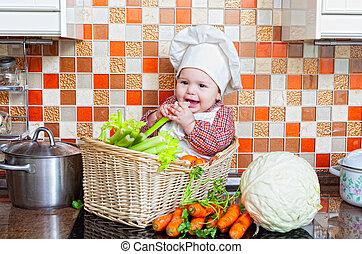 wattled, légumes, enfant, panier, table, assied
