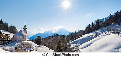 Watzmann at noon with church, Bavaria, Berchtesgaden,...