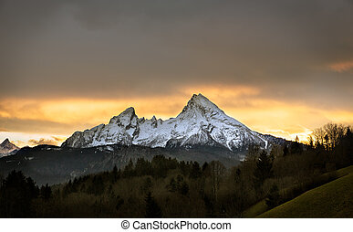 Watzmann at sunset, Berchtesgadener Land, Germany