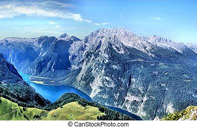Watzmann-massif with Koenigssee - Panorama of the...