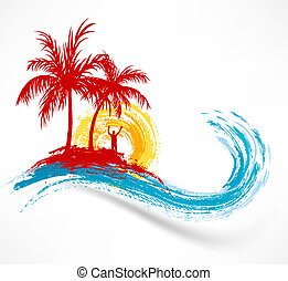 wave., に対して, 海洋, 日没, 木, やし, 人