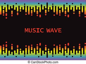 Wave 3D Rainbow Pulse music player on black background. Vector fluid equalizer element. Abstract design pattern banner
