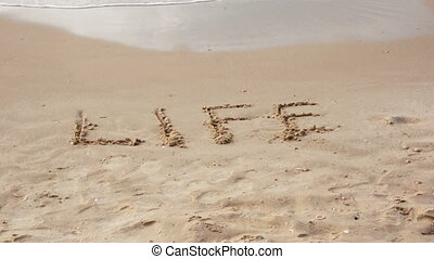 Wave almost washes word life - Wave almost washes off the...