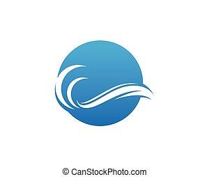 Wave beach water logo vector illustration