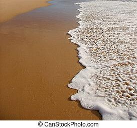 Wave breaking on a beach