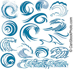 Wave Collection - Clip art of abstract blue wave designs and...