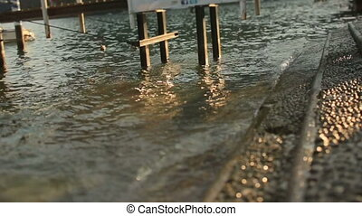 Wave Crashed on Shore Como Italia - Wave crashed on shore...