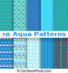 Wave different seamless patterns (tiling). Vector...