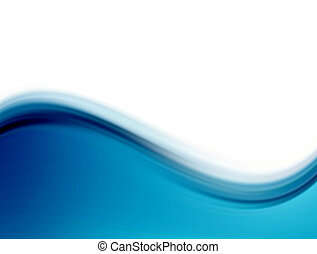 Wave - Blue dynamic waves over white background. Abstract...