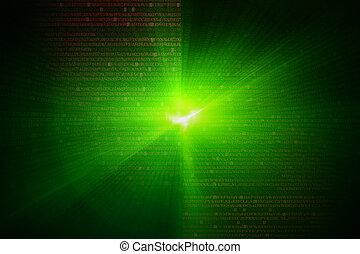 wave., experiência., jogo, verde, scifi, brilho, ou, circular