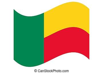 Wave Flag of Benin Vector illustration eps 10