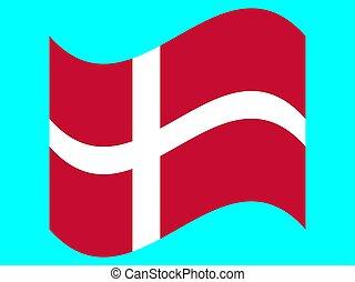 Wave Flag of Denmark Vector illustration. EPS10
