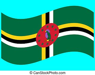 Wave Flag of Dominica Vector