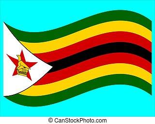Wave Flag of Zimbabwe Vector