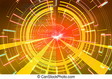 wave., gele, achtergrond., spel, scifi, gloed, of, circulaire