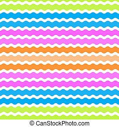 Wave green, pink, orange, blue background, seamless pattern. Vector