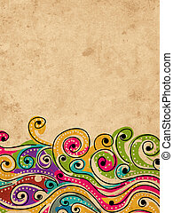 Wave hand drawn pattern for your design, abstract grunge background