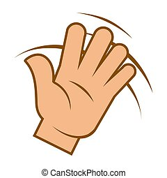 Wave hand, hello sign, greeting gesture isolated icon
