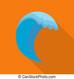 Wave icon, flat style