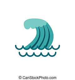 Wave icon, flat style