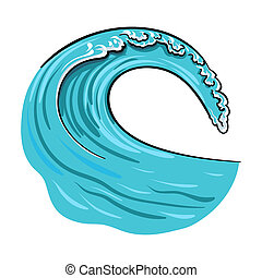 Wave icon in cartoon style isolated on white background....