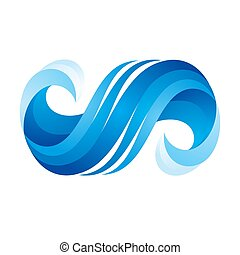 Wave icon on white background, vector illustration