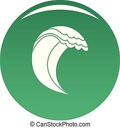Wave icon vector green