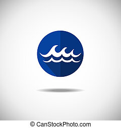 Wave icon - Water wave symbol, isolated vector icon. ...
