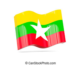 Wave icon with flag of myanmar