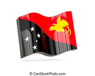 Wave icon with flag of papua new guinea
