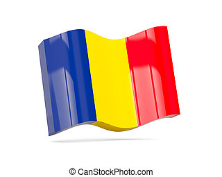 Wave icon with flag of romania