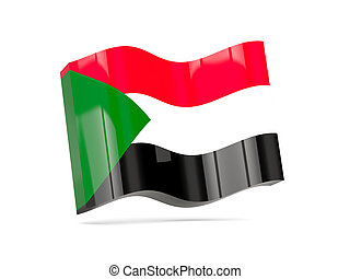 Wave icon with flag of sudan
