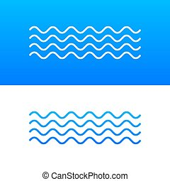 Wave icon with white color on blue background.
