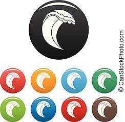 Wave icons set color vector