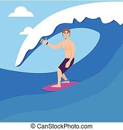 wave., illustration., style., grabado, tablista, grande, vector