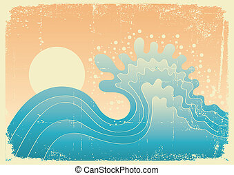 Wave in ocean.Water nature background with sun. - Sea waves....