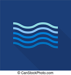 Wave in sea icon, flat style - Wave in sea icon. Flat...
