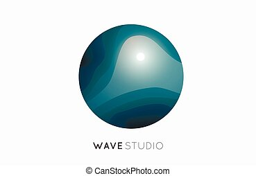 Wave logo. Business Icon. Blue . Company
