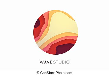 Wave logo. Business Icon. Color . Company