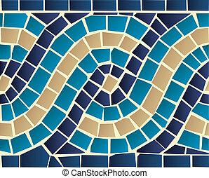 Wave mosaic seamless pattern - Marine style blue wave mosaic...